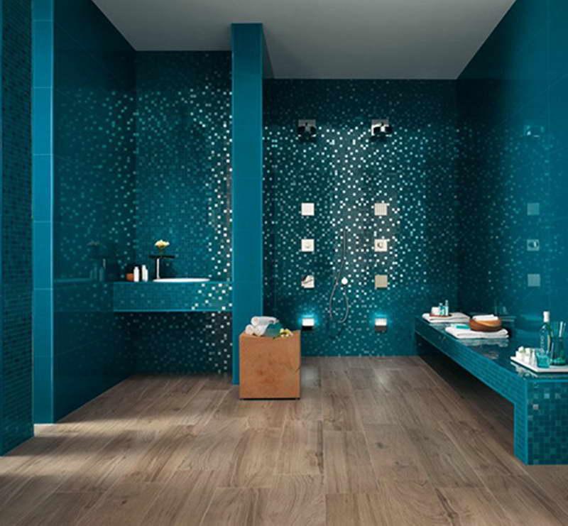luxus badezimmer blau mit blauen badezimmerfliesen und mosaik