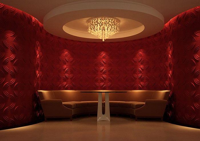 raumgestaltung mit wandfarbe rot- modernes interior mit dekorativen wandfliesen mit textur-sofa rund