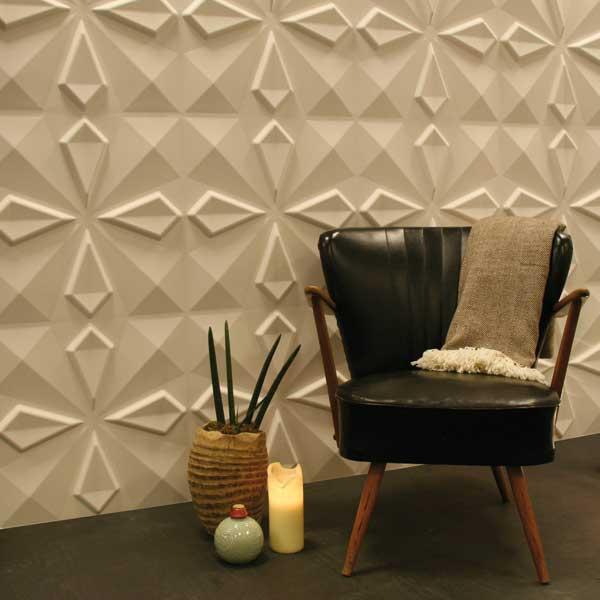 wandgestaltung mit 3D wandpaneelen aus pflanzenfaser-designer ledersessel schwarz