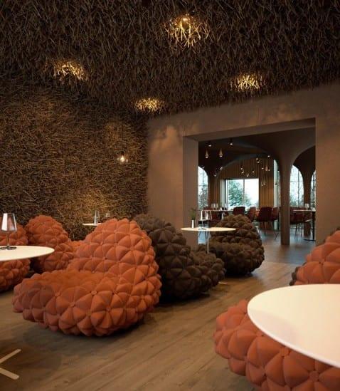interior mit wandfarbe braun und holzbodenbelag-deckengestaltung idee