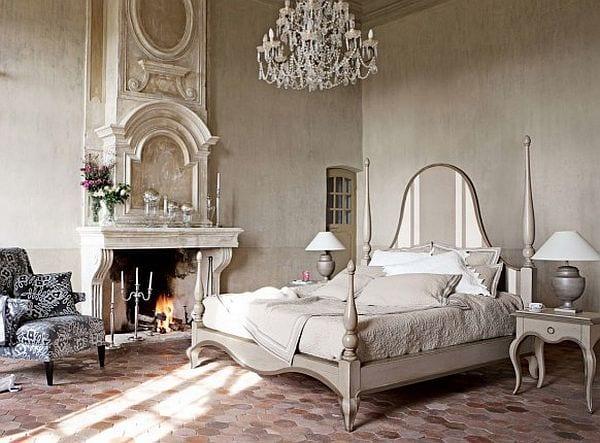 luxus schlafzimmer interior mit kamin und möbeln im barock