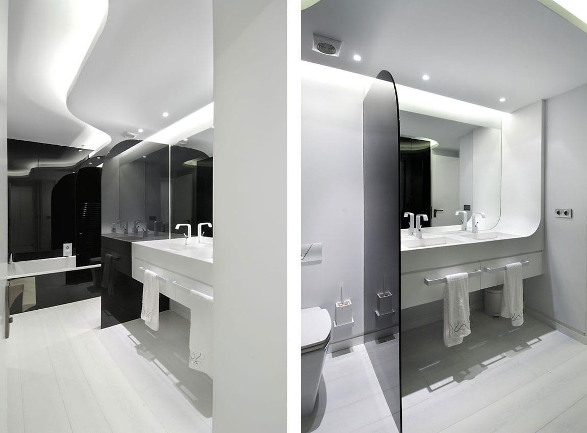 luxus badezimmer schwarz weiß mit wandfarbe schwarz und badewanne schwarz-trennwand aus schwarzem glas