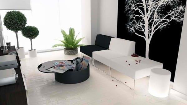 modernes wohnzimmer mit coolem hintergrundbild-moderne seats and sofas und runder couchtisch schwarz