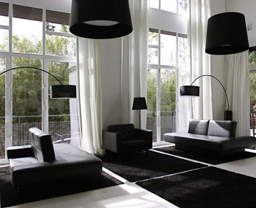 21 fantastische gestaltungsideen f r schwarz wei e wohnzimmer freshouse. Black Bedroom Furniture Sets. Home Design Ideas