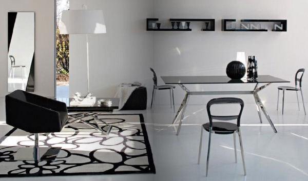 minimalistische wohnzimmer inspirationen mit designer esstisch und coole wandgestaltung mit schwarzen wandregalen