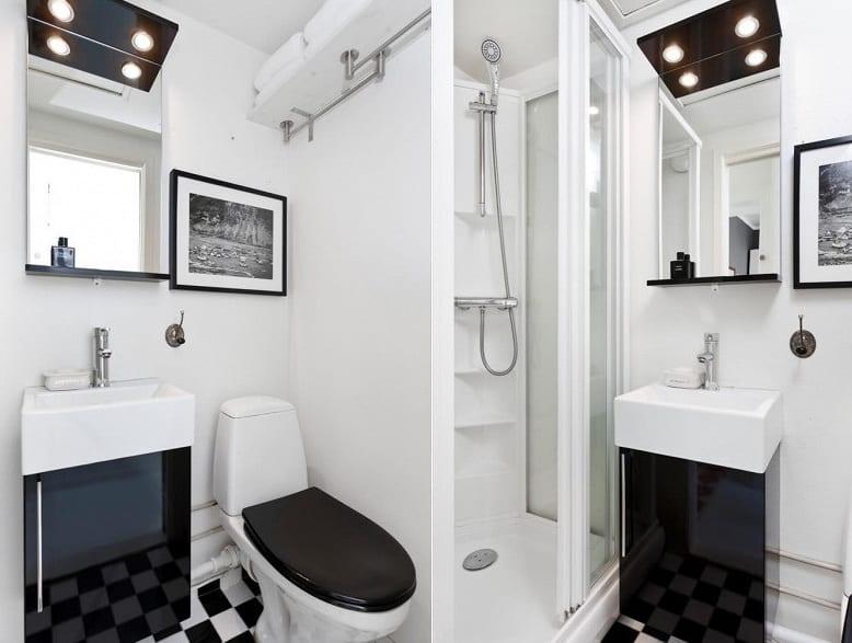 1 zimmer appartement einrichtungsideen-modernes badezimmer in schwarz weiß