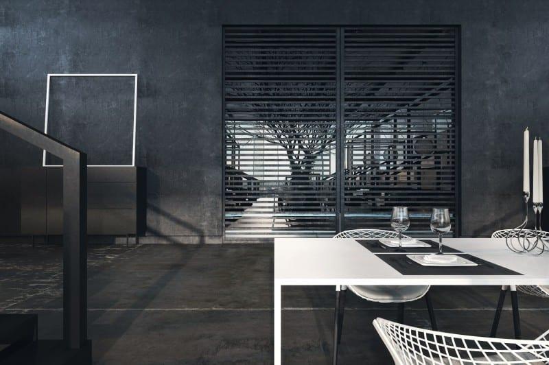 wandfarbe schwarz- restaurant interior mit modernen weißen Esstischen und designerstühlen
