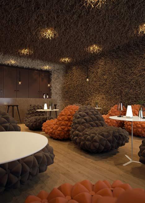 modernes interior mit designer polstersesseln braun und weiße runde tische