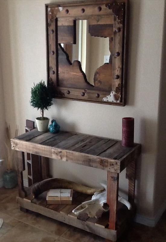 diy sideboard holz- coole möbel aus paletten-sideboard dekorieren-DIY Wandspiegel