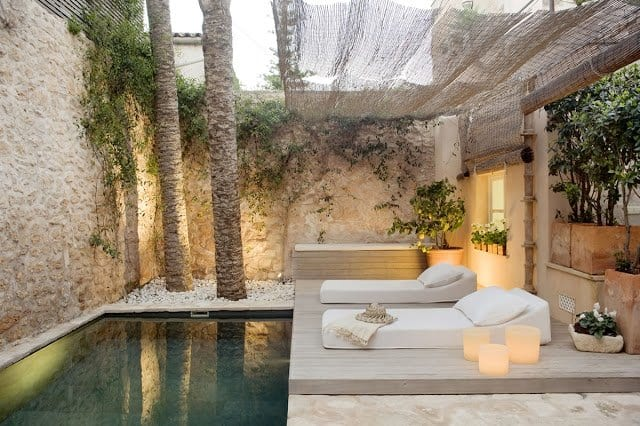 bankirai terrasse mit steingarten und beschattung terrasse