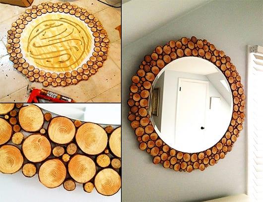 wandgestaltung mit rundspiegel und spiegelrahmen aus holz