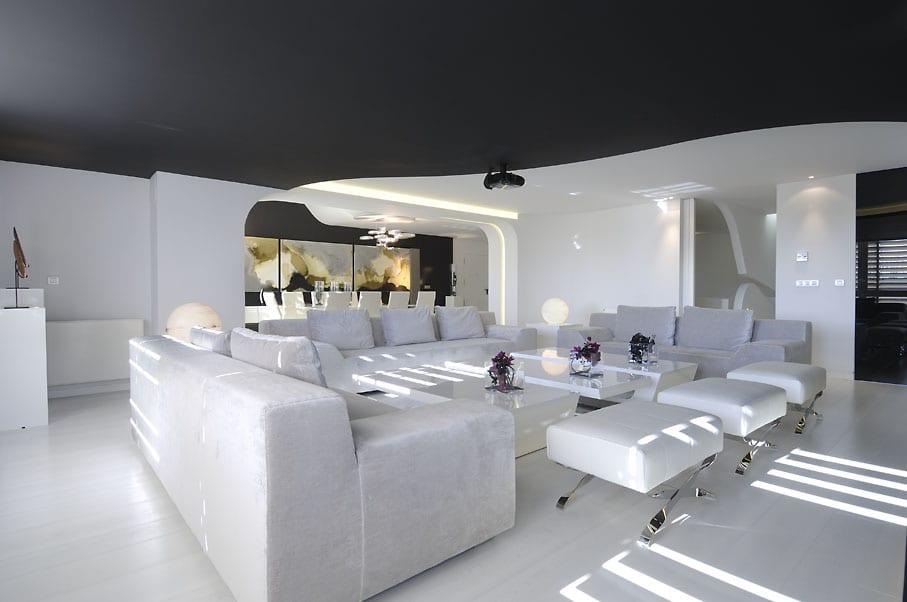 luxus wohnzimmer weiß mit decke schwarz- moderne seats and sofas weiß