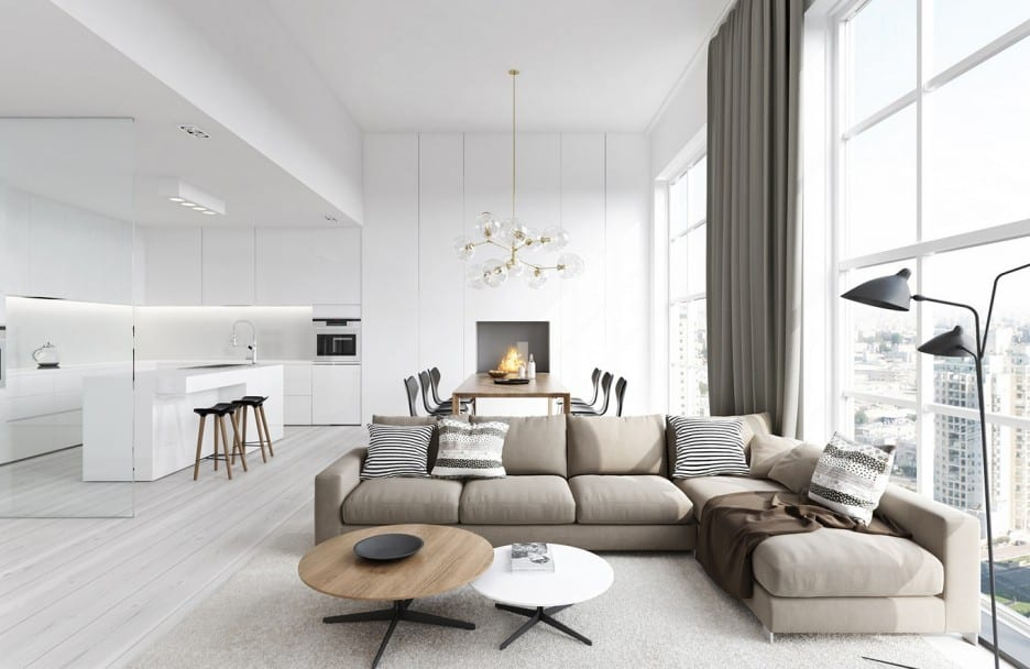 mein luxus wohn esszimmer mit gardinen und ecksofa beige als Akzent zu der moderner küche weiß mit weißem kocjinsel und barhockern holz