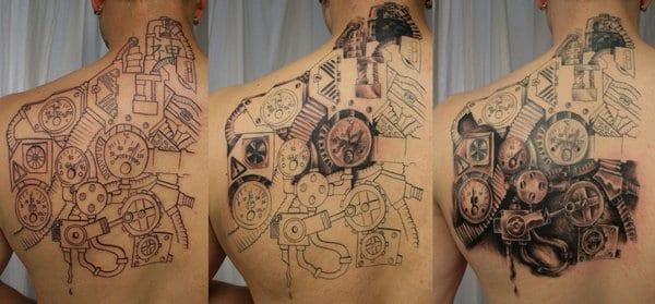 rücken tattoo biomechanik mit zahnrädern für den rücken