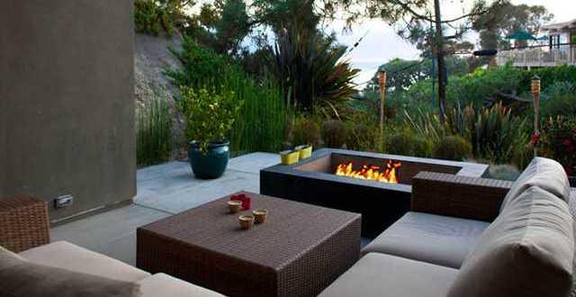 Terrassenmöbel rattan  terrasse gestalten mit offenem kaminofen und terrassenmöbel rattan ...
