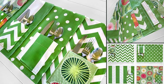 tisch sets mit taschen fürs besteck