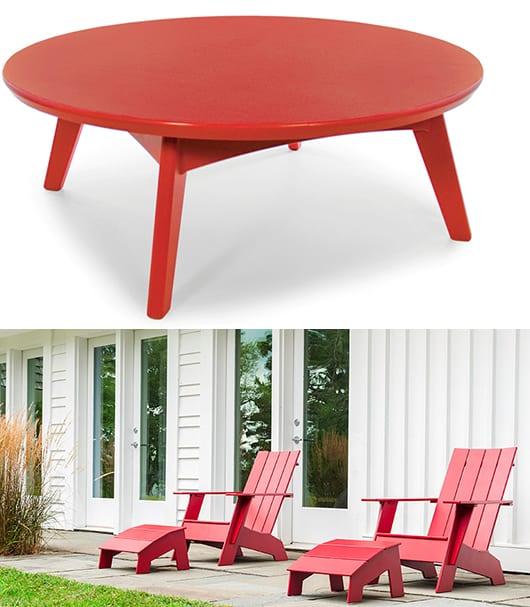 Esstisch rund aus holz in rot mit roten holzstühlen