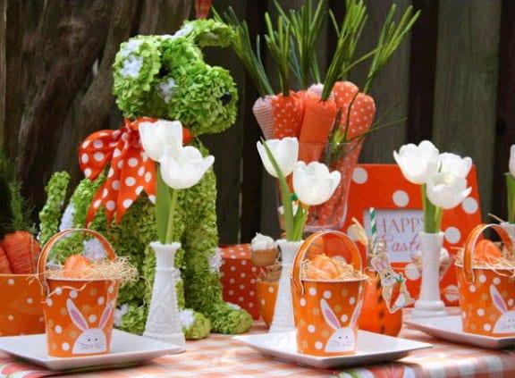 orange tischdeko ideen für ostern 2015