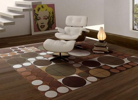 wohnzimmer braun-teppich braun mit kreismuster