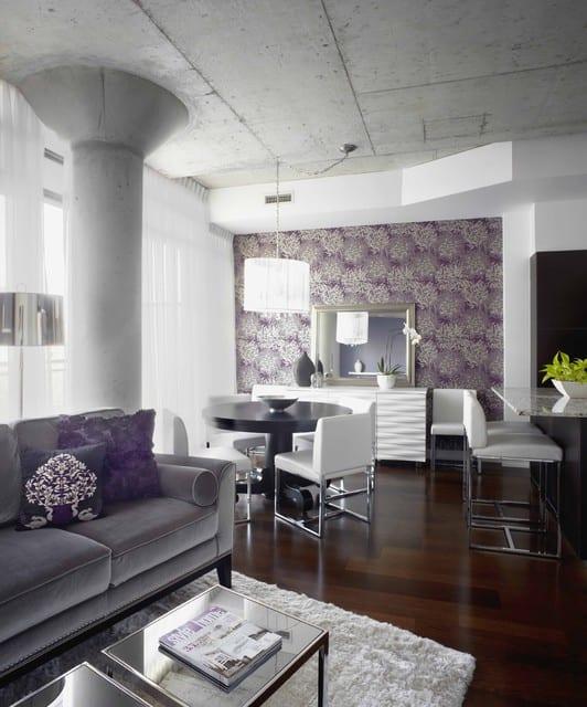 modernes wohnzimmer inspirationen mit sichtbetondecke und runde betonstütze
