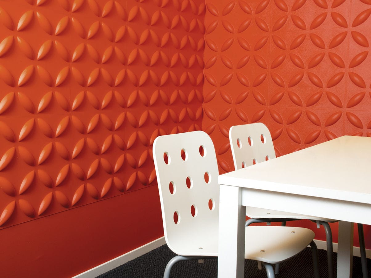wandfarbe orange- schicke wandgestaltung mit dekorativen wandpaneelen