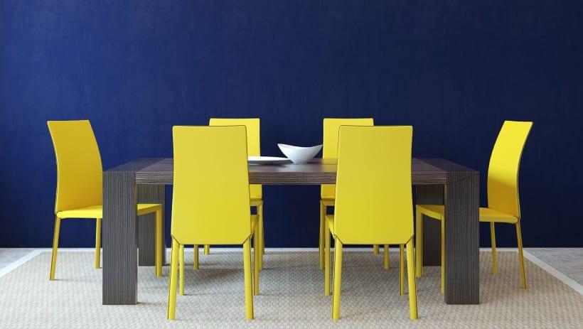 wandfarbe blau-farbrausch schöner wohnen mit farbkombination blau mit gelb-esszimmerstühle gelb