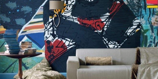 Wand Streichen in Farbpalette der Wandfarbe Blau