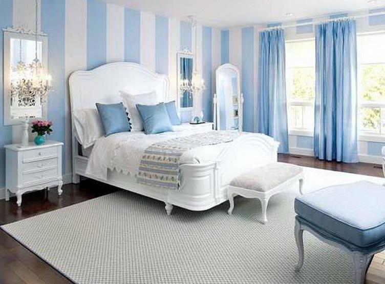 schlafzimmer inspiration mit streifen muster in Hellblau und weiß-blaue gardinen dekorationsvorschläge