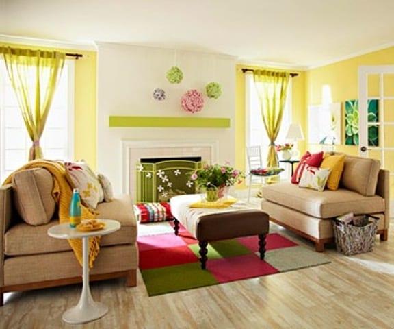 wohnzimmer inspirationen mit sofa beige und weißem kamin-gardinen dekorationsvorschläge