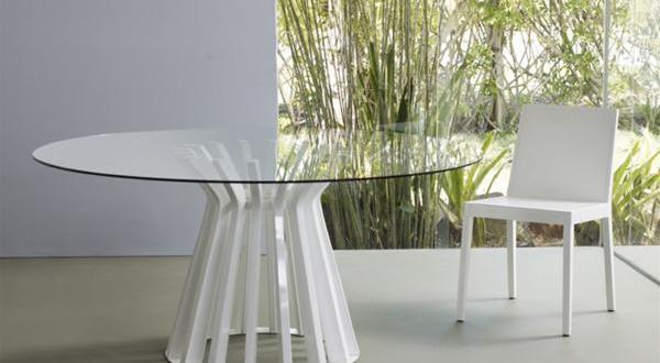 wei er esstisch rund mit glasplatte freshouse. Black Bedroom Furniture Sets. Home Design Ideas