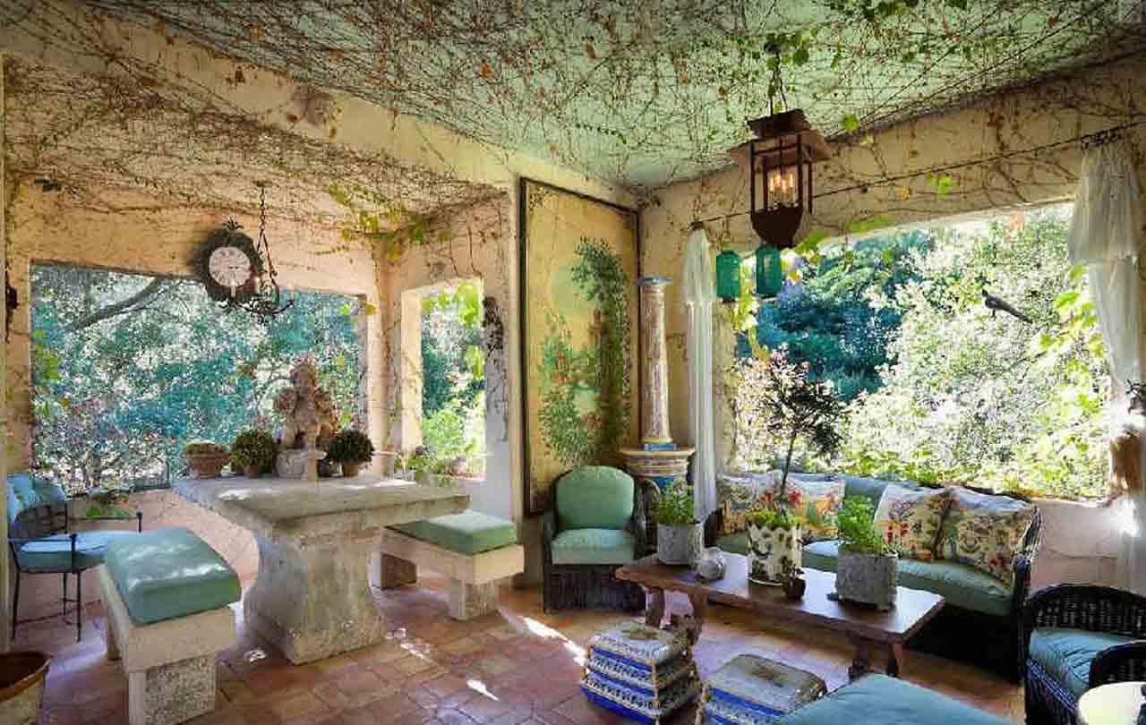 Wintergarten Gestaltung Mit Esstisch Und Banke Aus Stein Garten Im Haus