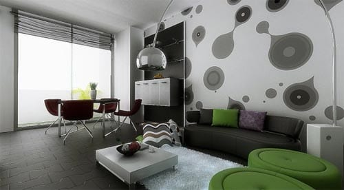 wohnzimmer inspirationen mit moderner mustertapete und runden polsterhockern grün