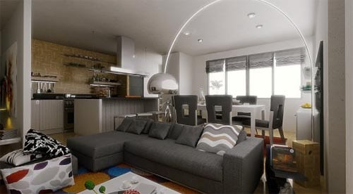 zweiraumwohnung einrichtungsideen- ecksofa grau und esstisch weiß mit modernen esszimmerstühlen grau- moderne stehlampe aus metall