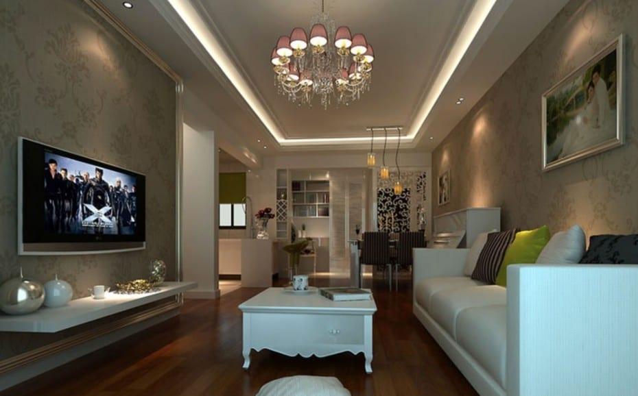 luxus wohnzimmer mit grauen wandtapete- ledersofa weiß mit wandregal weiß