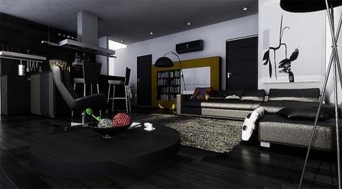 modernes wohnzimmer schwarz  und küche schwarz- moderne raumgestaltung kleiner wohnung