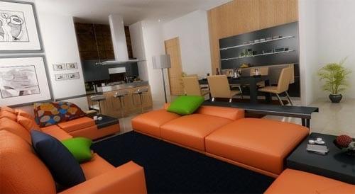 kreative gestaltung kleiner wohnung mit ledersofa und hockern in orange und teppich schwarz