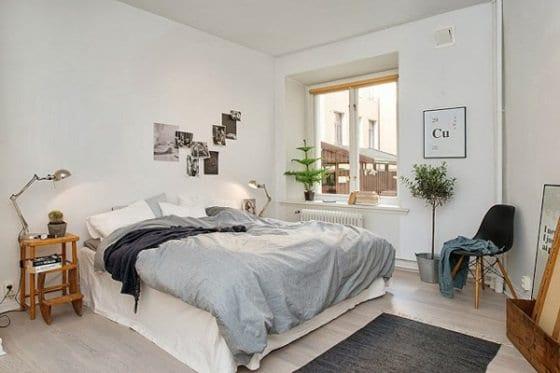 schlafzimmer wandgestaltung_bettwösche grau und schlafzimmer teppich grai