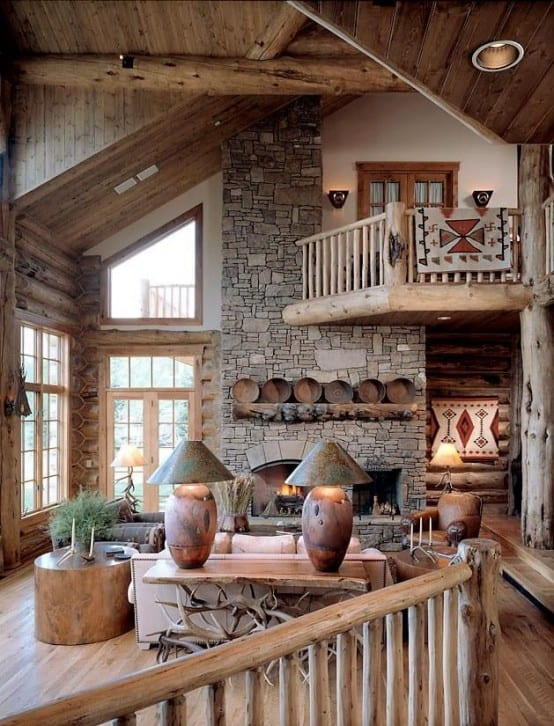 wohnzimmer inspirationen für rustikales wohnzimmer desihn mit naturstein und holz_sideboard dekorieren mit tischlampen