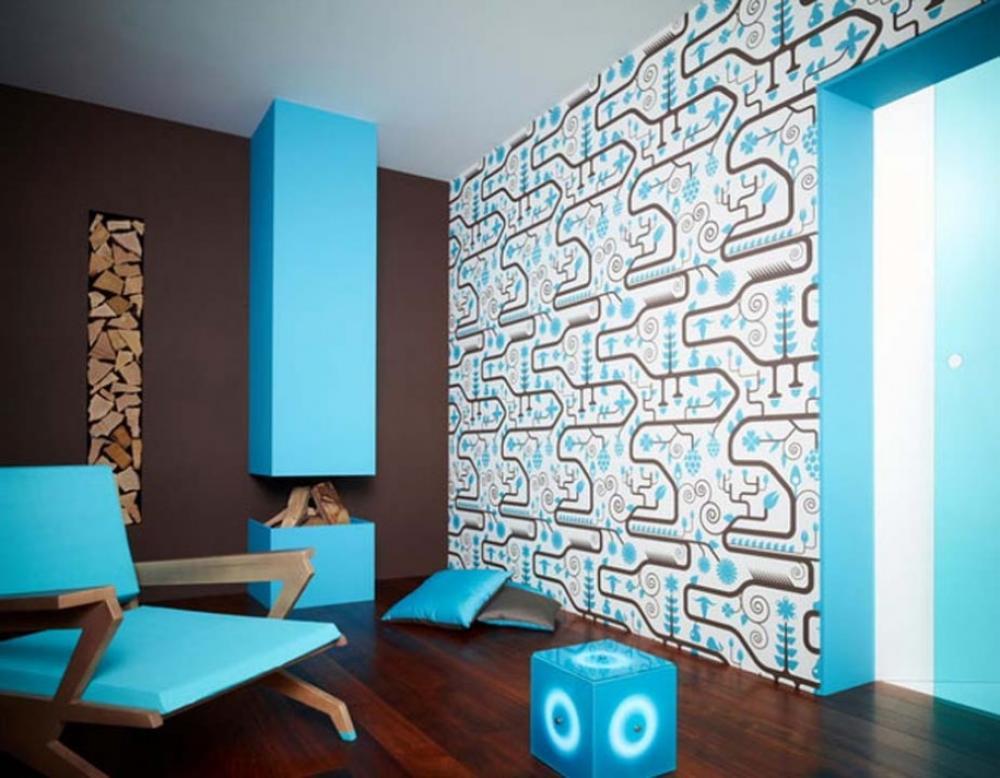 wohnzimmer farbgestaltung in blau mit wandfarbe braun-wandgestaltung mit tapete blau