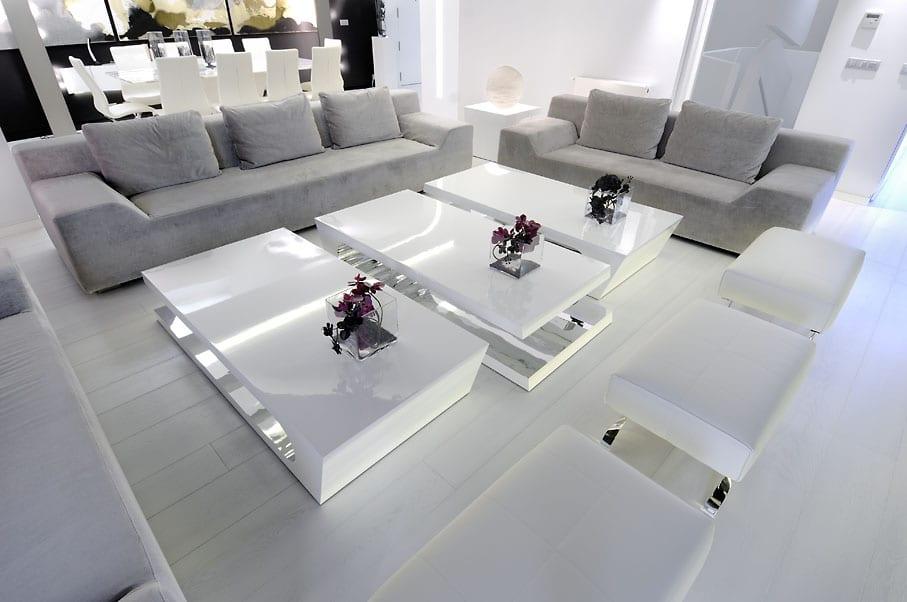 luxus wohnzimmer weiß mit designer couchtische weiß
