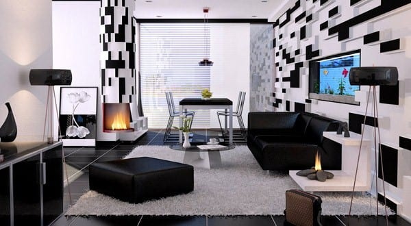 wohnzimmer inspirationen in schwarz wei freshouse. Black Bedroom Furniture Sets. Home Design Ideas