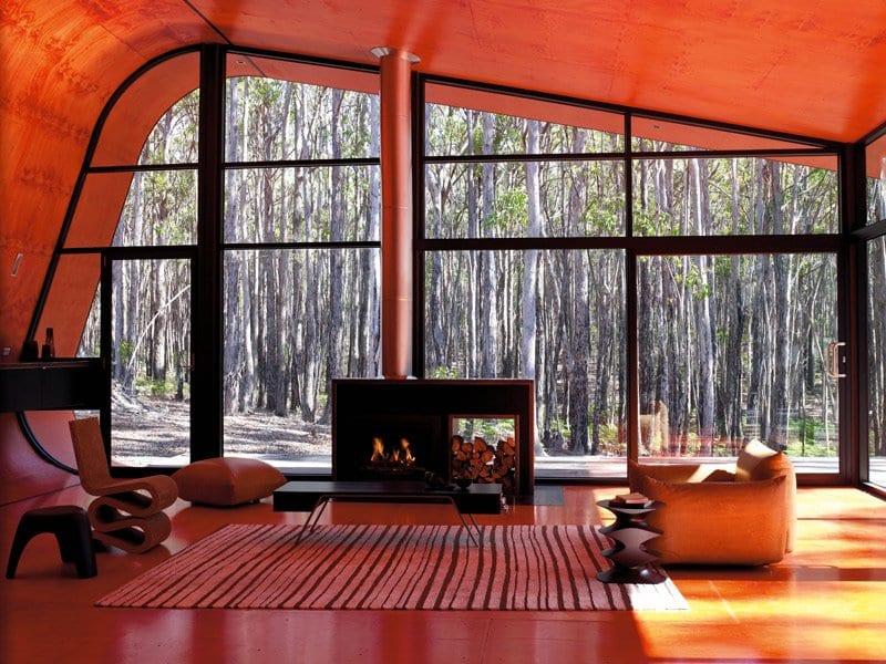 luxus wohnzimmer mit pfostenriegel fassade