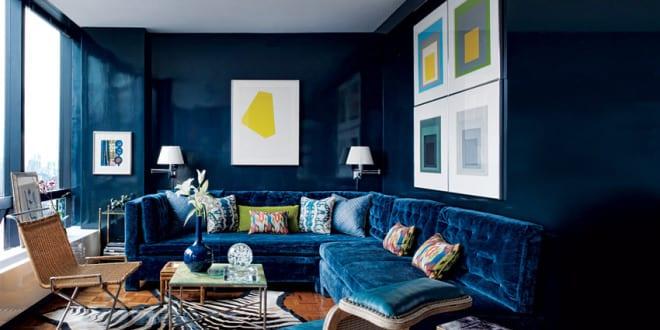 wohnzimmer streichen-richtig streichen mit wandfarbe blau-todd ... - Wohnzimmer Blau Streichen
