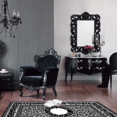 wohnzimmer farbgestaltung in schwarz mit wandfarbe grau- barock möbel schwarz-sideboard dekorieren