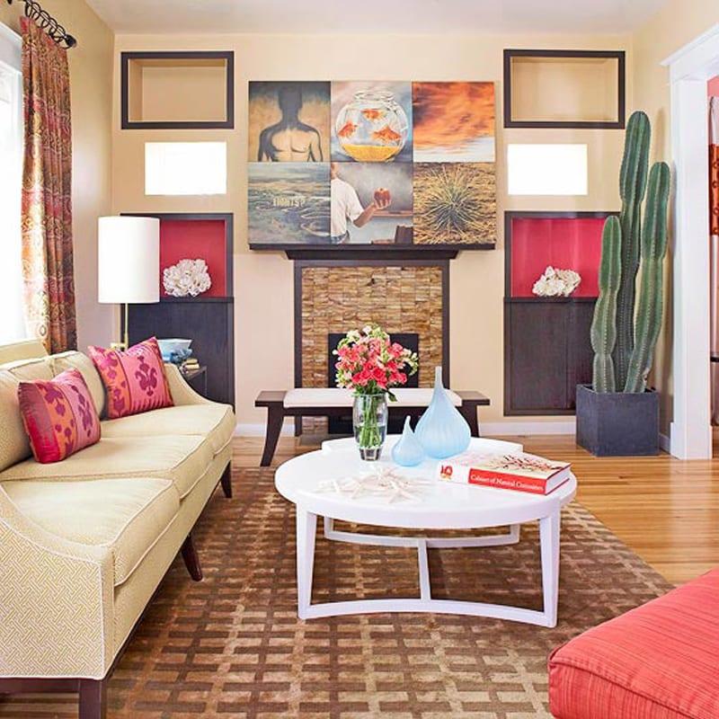 wohnzimmer inspirationen mit kamindekoration und wandgestaltung mit nischen und schwarzen rahmen-holzboden mit texturteppich braun