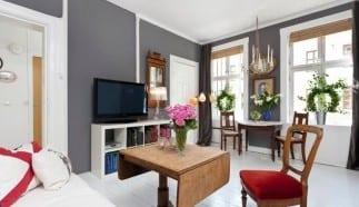 1 zimmer appartement wand streichen ideen in grau- klasische holzmöbel und fensterdekoration