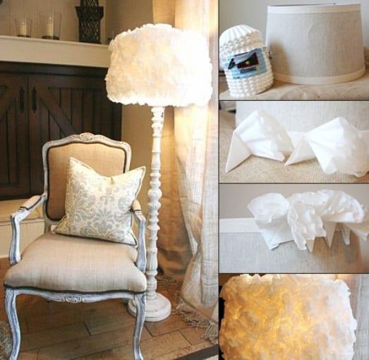 wohnzimmer rustikal mit DIY Lampe mit Kaffeefiltern