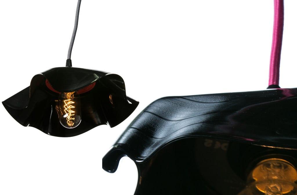 bastelidee für Lampe selber bauen aus Schallplatten