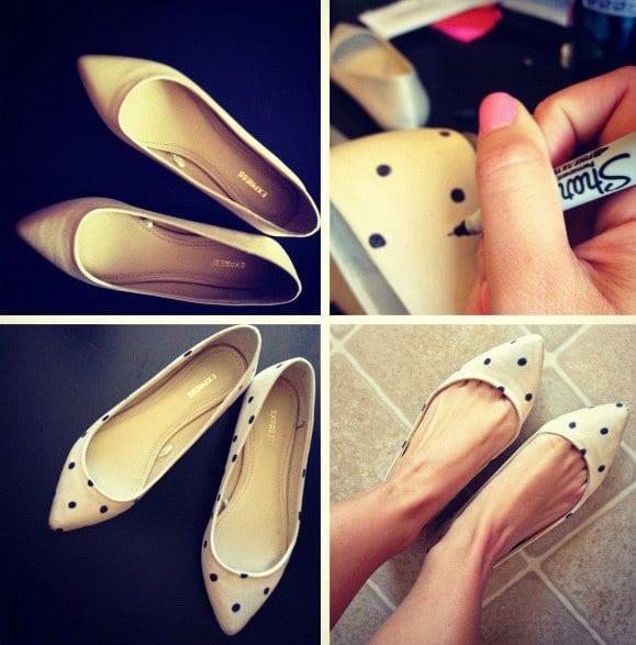 bastelideen für elegante gepunktete high heels