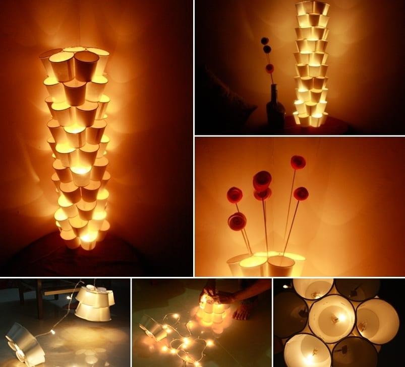 bastelideen mit bechern für stehlampe mit weihnachtslampen
